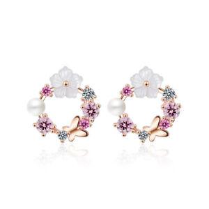 Ladies-Sweet-Elegant-925-Sterling-Silver-Zircon-Butterfly-Flower-Stud-Earrings