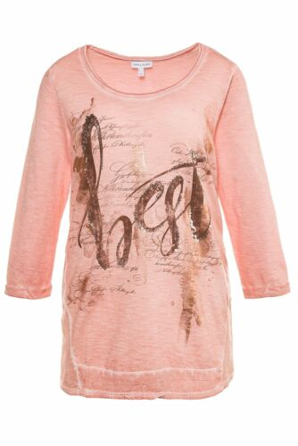 Gina Laura Shirt Chiffoneinsatz Druck cool dye Schrift beige NEU