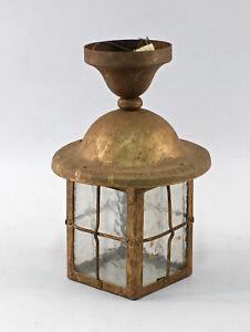8468006 Antike Decken-Lampe um 1910 Eisen verglast alt-elektrifiziert