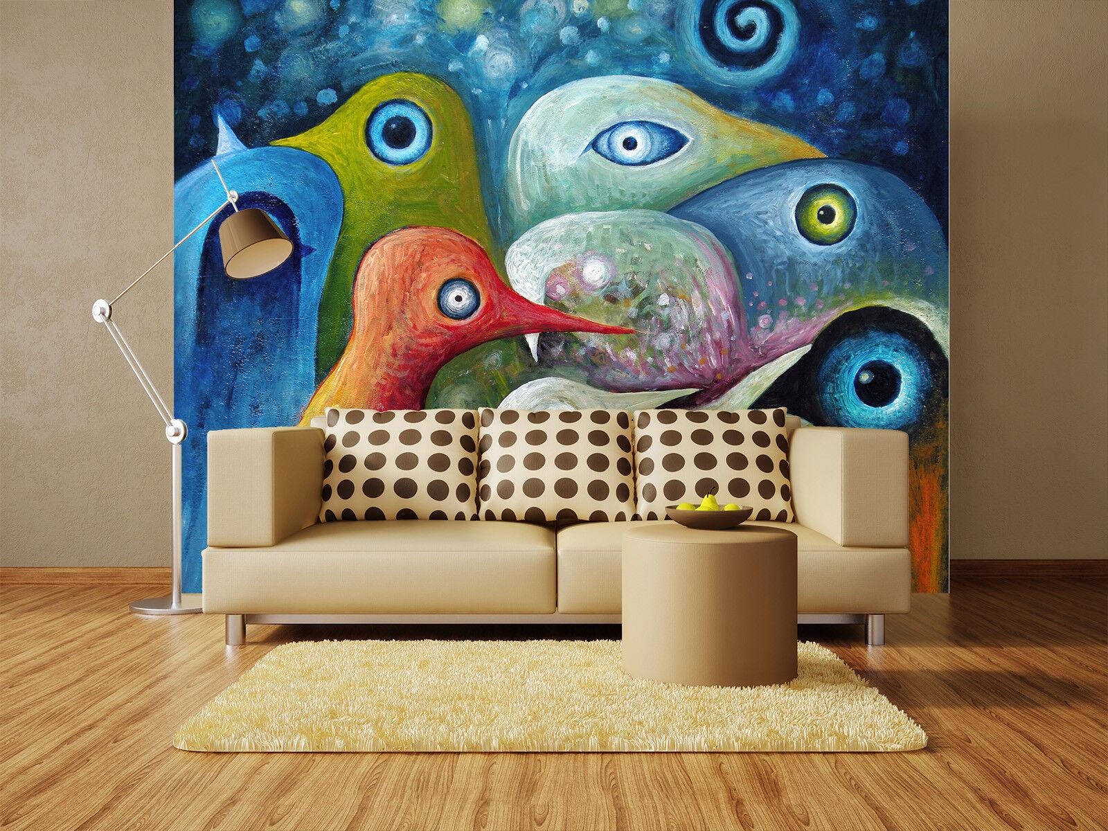 3D  Farbe Birds 497 Wallpaper Murals Wall Print Wallpaper Mural AJ WALL UK Lemon