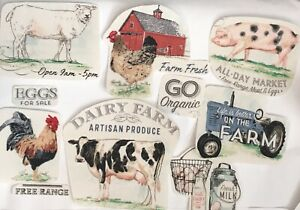 Farm-Patches-Iron-On-Fabric-Appliques-Cows-Chickens-Pigs-Eggs