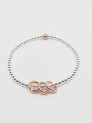 Sterling Silver /& Rose Gold 30th Birthday Bracelet 3 rings 3 decades