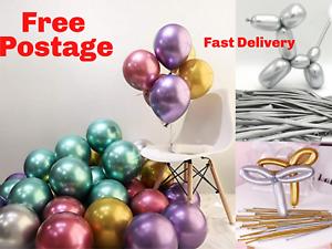 10-50-CHROME-BALLOONS-METALLIC-LATEX-PEARL-12-034-Helium-Baloon-Birthday-Party