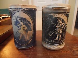 Antique-Original-Morton-Salt-Containers-1914-amp-1933-Salt-Round-Boxes