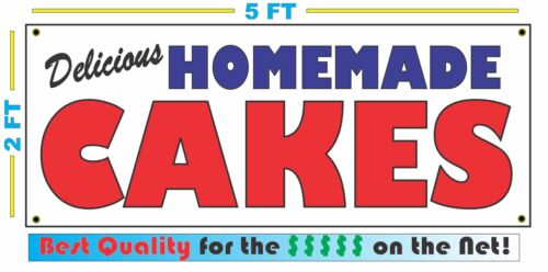 HOMEMADE CAKES BANNER Sign NEW Larger Size Best Quality for the $$$ BAKERY