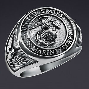 Marine Corps Ring United States Army Usmc Eagle Adler in 925 Sterling Silber