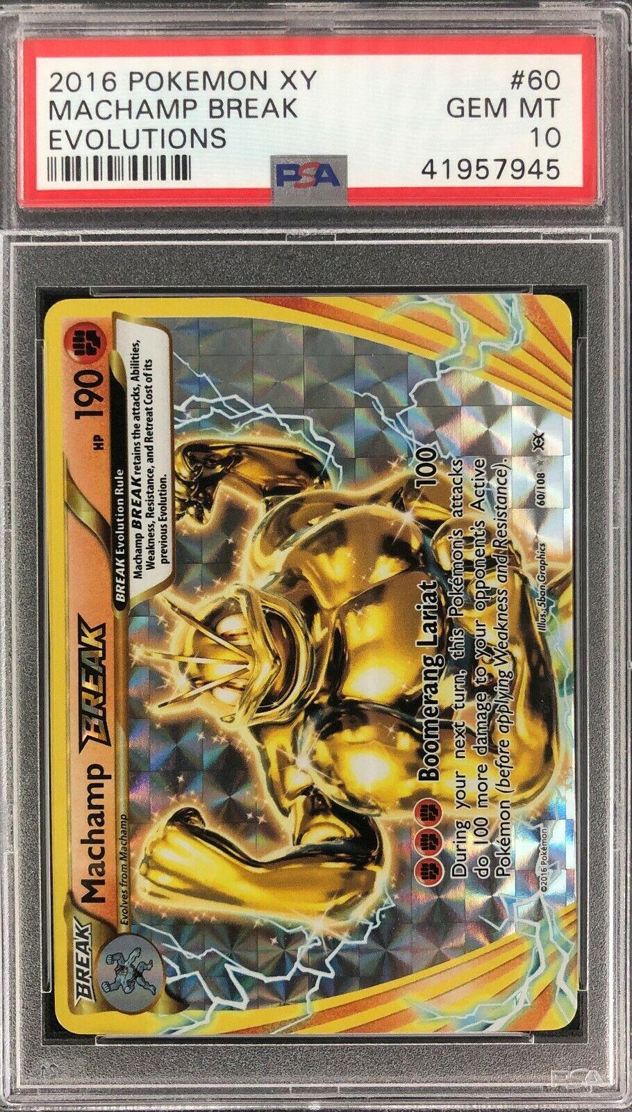 Machamp Break Evolutions Holo Shiny Pokemon Card Mint PSA 10