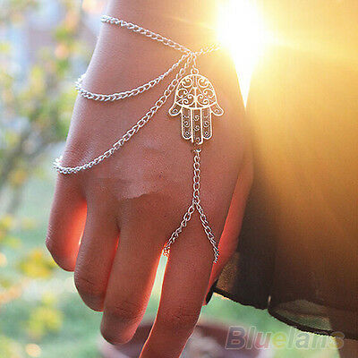 Womens Asymmetric Hamsa Hand Bracelet Finger Ring Lucky Harness Slave Hand Chain