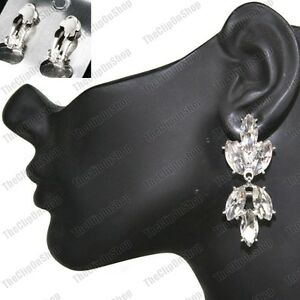 CLIP-ON-2-034-long-AUSTRIAN-CRYSTAL-EARRINGS-big-glass-stones-rhinestone-SILVER-GOLD