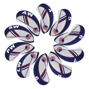 Neoprene-10pcs-Golf-Iron-Headcovers-4-Lw-For-Taylormade-Titleist-Srixon-Cobra