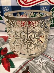 Bath-amp-Body-Works-SPARKLY-SNOWFLAKE-3-Wick-GLITTERY-Candle-Holder-LUMINARY