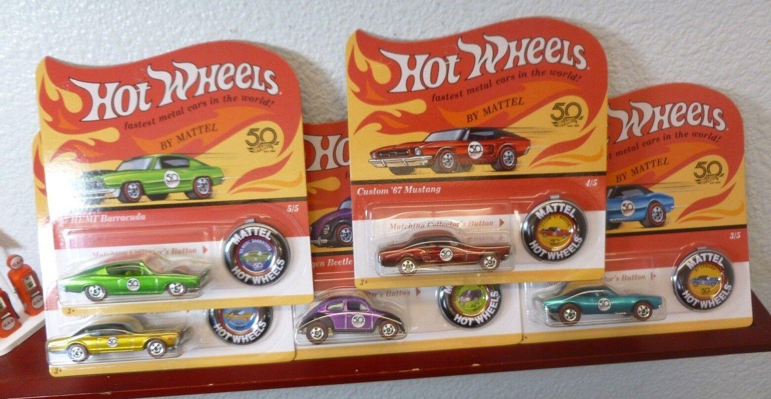 Hay más marcas de productos de alta calidad. Lote de 5 con error 2018 Hot Wheels 50th Aniversario Aniversario Aniversario Set Barracuda Camaro Mustang +  envío gratuito a nivel mundial