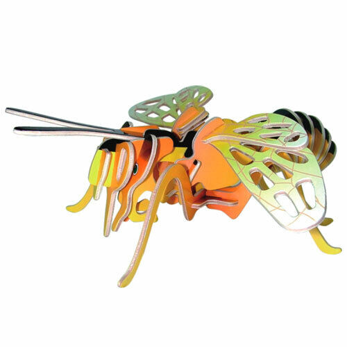 Biene - farbig 3 D Holzbausatz Holz Insekt Modell Steckpuzzle Tier Holzpuzzle