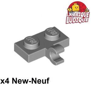 Plate 1x2 Clip Horizontal NEUF NEW 6 x LEGO 63868 Plaque Crochet gris grey