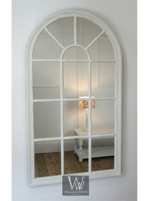 Well-liked Arabella White Shabby Chic Arch Window Wall Mirror 40