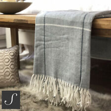 Luxury Woollen Touch Large Check Grey White Throw Bed Sofa Blanket Throw New