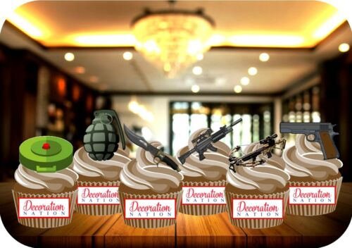 Military Weapons Mix A 12 Edible STANDUP Cake Topper Decoration War Soldier Army