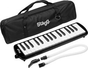 Stagg MELOSTA32BK BLACK Plastic Melodica Reed Keyboard 32 Keys,Mouthpiece & Case