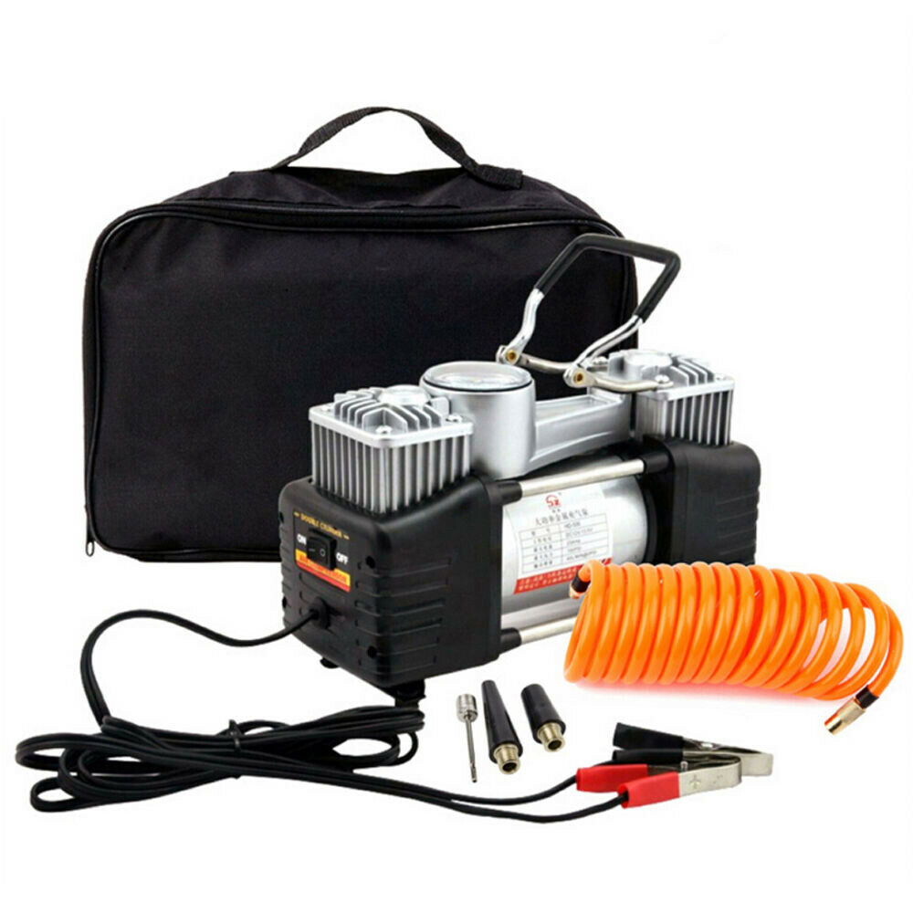 12V 150PSI Double Cylinder Air Compressor Pump Car Auto Tire Tyre Inflator Gauge