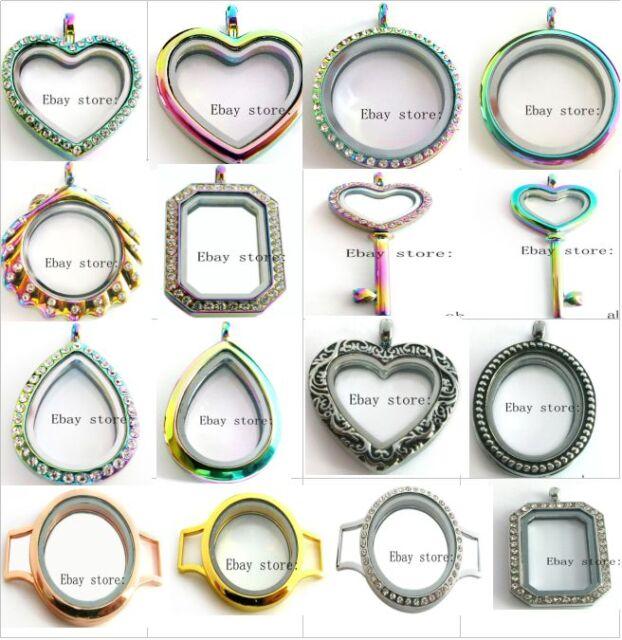 1p 30mm Heart Rainbow Locket Glass Memory Locket fit DIY Floating Charms