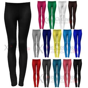 Mujer Negro Leggings De Algodon Altura A Tobillo Lycra Elastica Look Pantalones Ebay