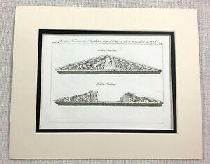1821-Antique-Engraving-Ancient-Greek-Parthenon-Temple-Greece-Pediment-Old-Print