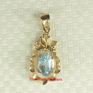 14k-Solid-Yellow-Gold-Pineapple-Design-5-x-7-mm-Oval-Blue-Topaz-Pendants-TPJ