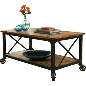 Details About Rustic Coffee Cart Tv Stand 42 Table Black Wheels Wood Farmhouse