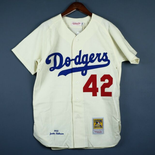 100% Authentic Jackie Robinson Mitchell Ness Dodgers '55 Jersey Size 52 2XL Mens