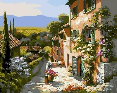 Tuscany Landscape Houses Italy Painting Artwork Paint By Numbers Kit DIY