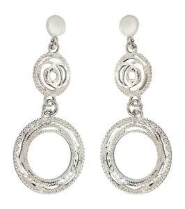 Ohrhänger Silber 925 rhodiniert Ohrringe runde Glieder Ohrschmuck Damen 4,2 cm