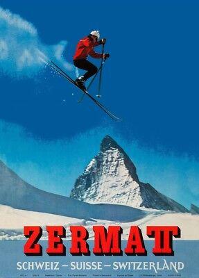 Swiss 250gsm A3 Travel Print Vintage Ski Posters ZERMATT 1964