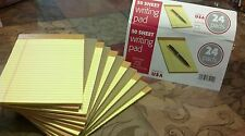 """12 Writing Pads Yellow 50 Sheet each 5"""" x 8"""" legal rule, 12 pack lot"""