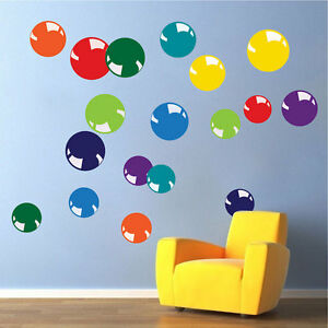 Image Is Loading Colorful Bubble Wall Decals Kids Bedroom Wallpaper Removable