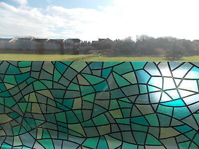 FABLON STICKY BACK PLASTIC BLUE STAINED GLASS WINDOW EFFECT VINYL FILM 1.5 meter