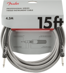 Genuine-Fender-Professional-Series-Guitar-Instrument-Cable-WHITE-TWEED-15-039-ft