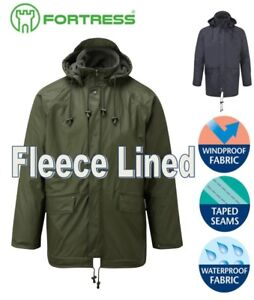 Mens-WATERPROOF-Windproof-Quilted-FLEECE-Lined-Jacket-Hood-S-M-L-XL-2XL-3XL