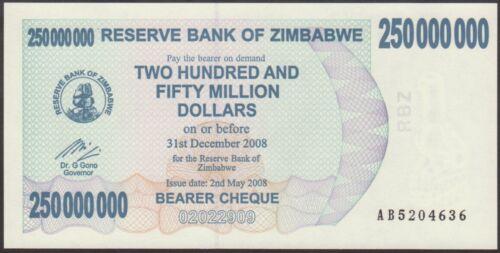 P 59  LOT 2 PCS  Uncirculated Banknotes 250 MILLION DOLLARS 2008 ZIMBABWE