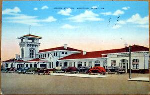 1940-Postcard-Union-Station-Amtrak-Train-Depot-Meridian-Mississippi-MS