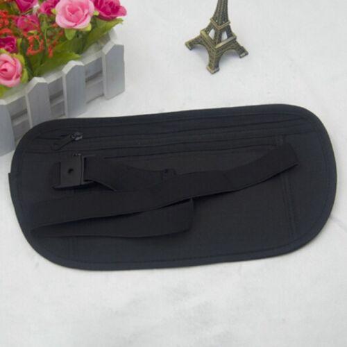 Black Travel Hidden Compact Security Flat Body Money Waist Belt Bum Bag Popular