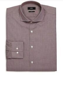 Hugo-Boss-Dress-Shirt-Jason-Micro-Houndstooth-Slim-Fit-Dress-Shirt-Sz-16-NWT