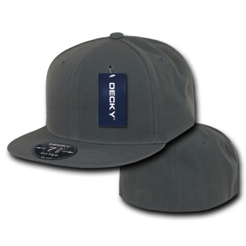 Decky Retro Fitted Flat Bill Baseball Hats Caps 6 Panel Plain Solid 8 sizes