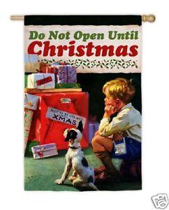 EVERGREEN Garden Flag DO NOT OPEN UNTIL CHRISTMAS Norman Rockwell NEW!!