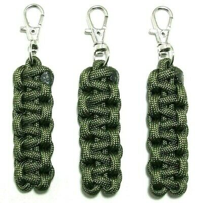 """3 PACK 3.50/"""" BLACK 550 PARACORD ZIPPER PULLS CUSTOM MADE WITH SWIVEL ENDS"""