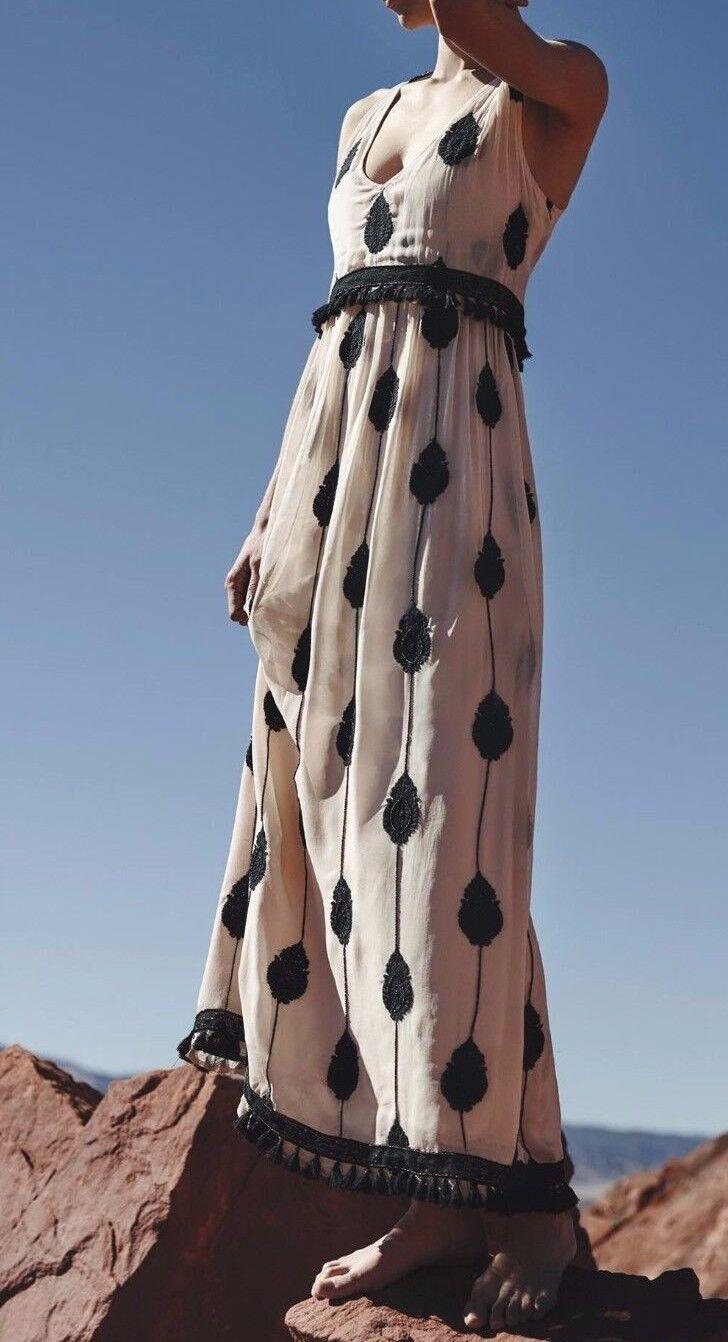 Anthropologie Embroideröd Medaallion Maxi Dress  268 av Moulinette Soeurs 6 NWT