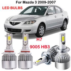 Details About 4pcs H7 9005 Hb3 Led Headlight Bulbs Kit For Mazda 3 2009 2007 Hi Low Beam 6000k