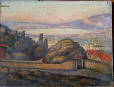 Tableau ancien - peinture impressionniste paysage de bord de mer vue de Sète