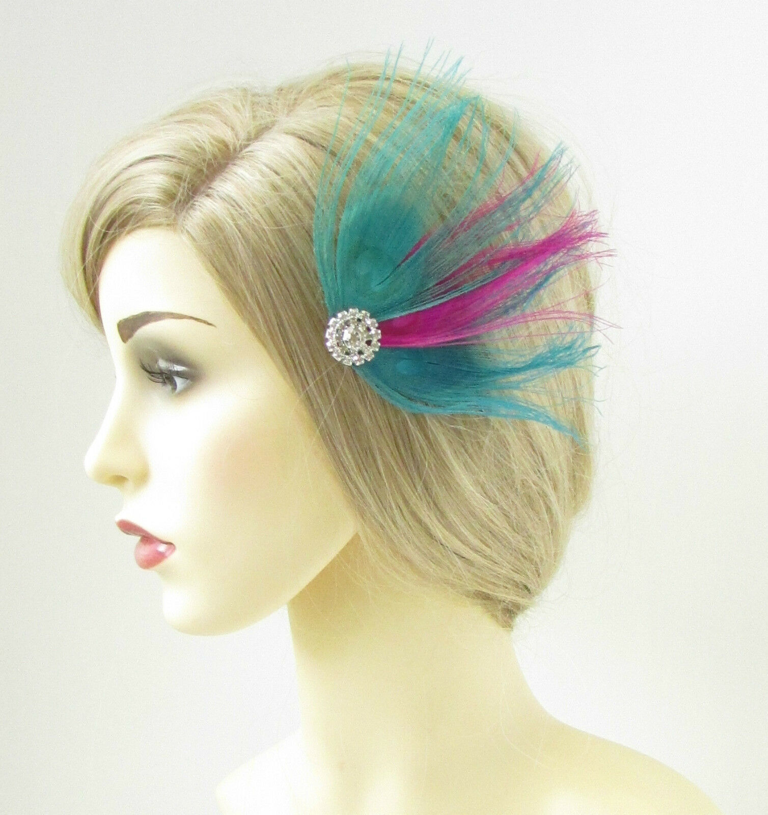 d95ecd8b8e1 Buy Turquoise Blue Hot Pink Peacock Feather Fascinator Hair Clip ...