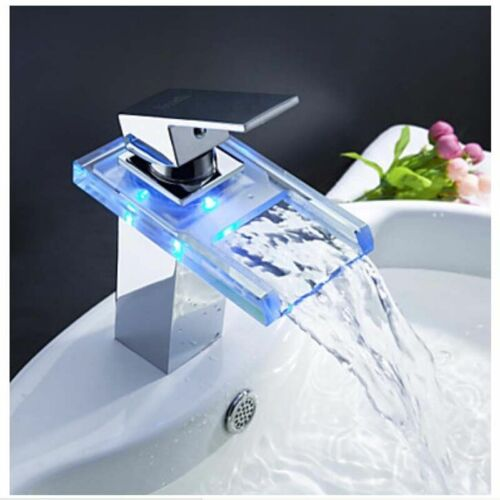 Modern Bathroom LED Chrome Vessel Sink Basin Faucet Waterfall Spout Mixer Taps