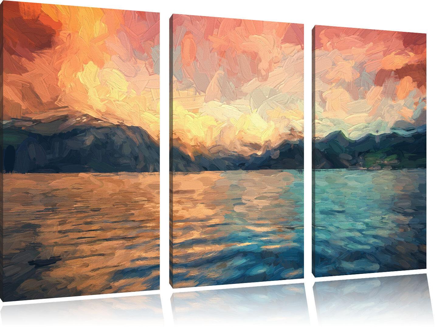 Eine schöne Landschaft im Norden Kunst Pinsel Effekt 3-Teiler Leinwandbild Wandd
